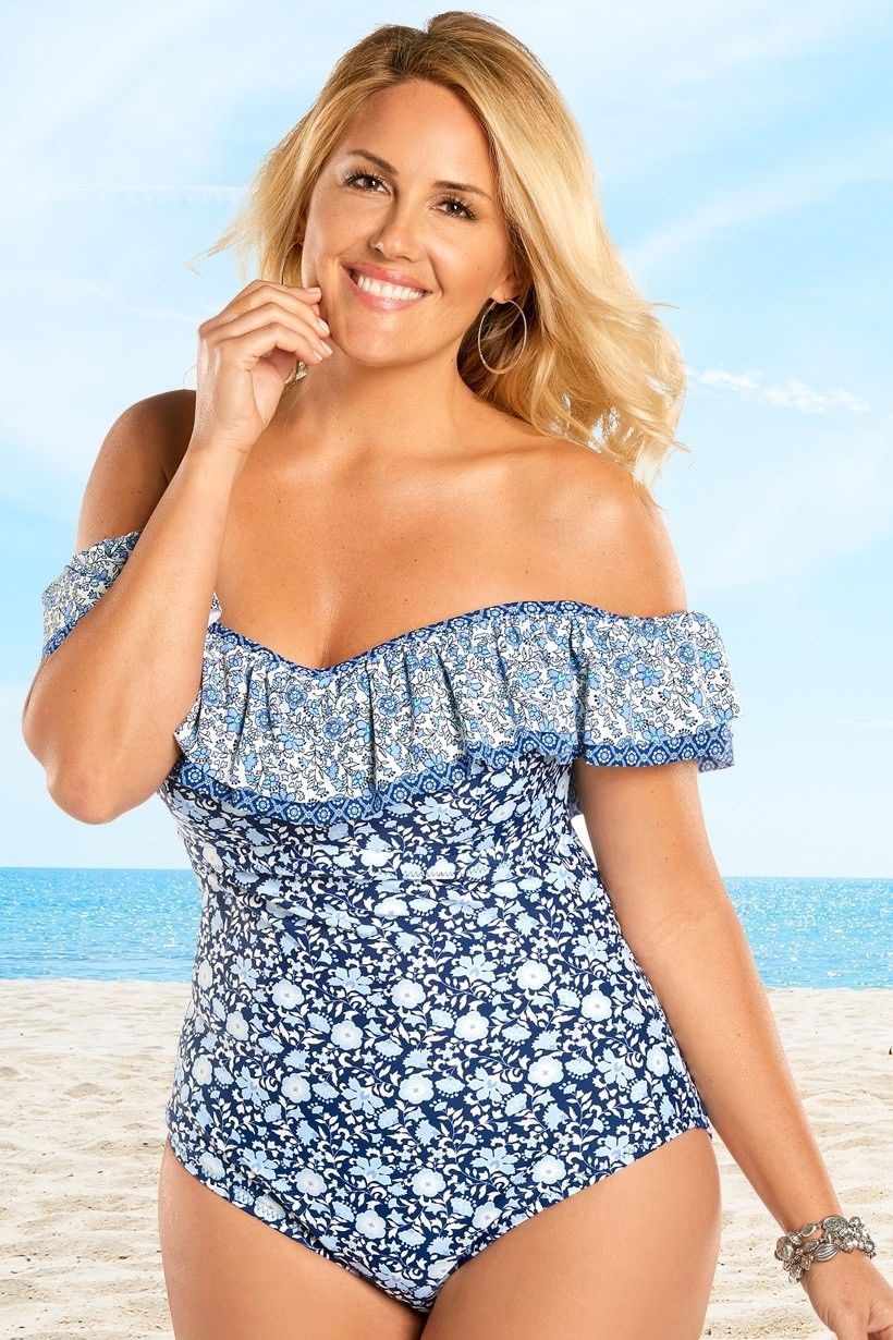2e684c32a797a Ruffle Off the Shoulder Plus Size One Piec Swimsuit - Jessica Simpson  Patched Up
