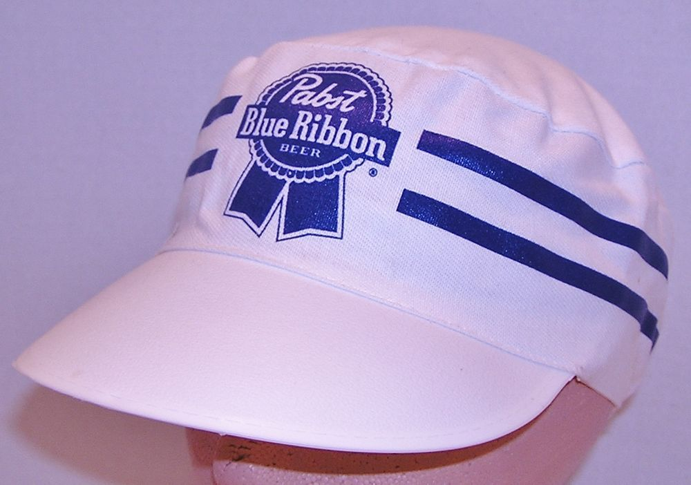 Pabst Blue Ribbon Beer Vintage White Blue Stripes Painter Style Cap Hat  Brewers  na   5e222735dcf