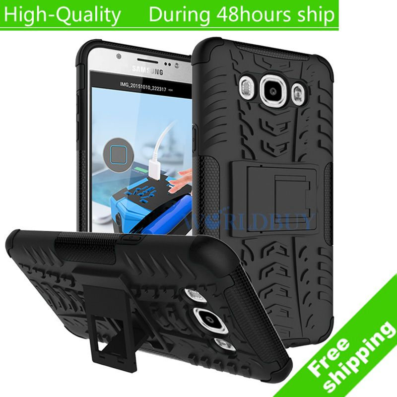 For Samsung Galaxy J7 J710 2016 Plastic Phone Case Heavy Duty TPU+PC Defender Armor Dazzle Shockproof with Kick Stand Cover