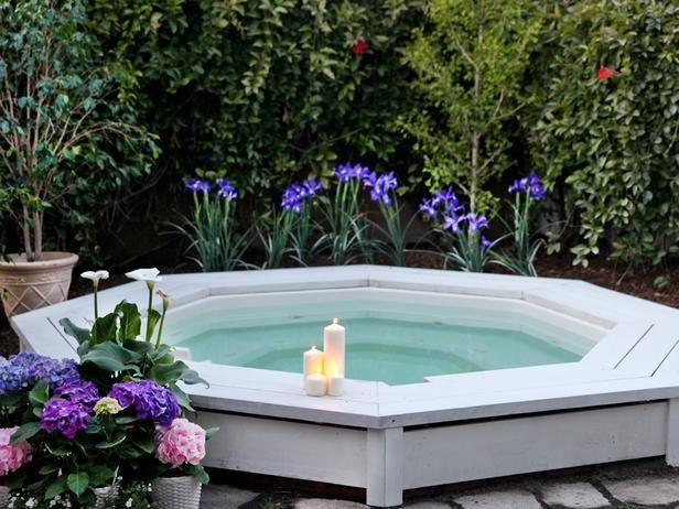 whirlpool garten holz dielen weiß hecke sichtschutz ideen Garten