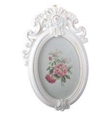 Marco sobremesa o pared romántico vintage blanco