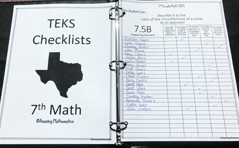 7th Math Teks Checklist