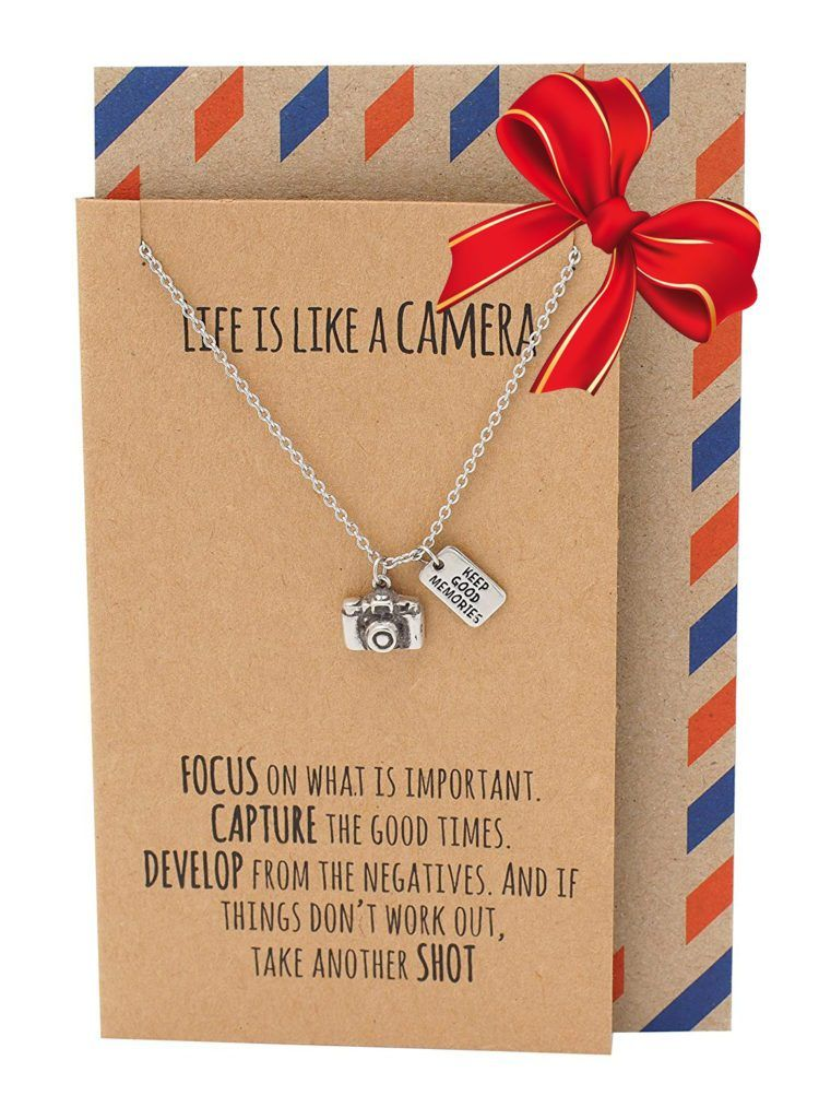 Ida Cute Camera Miniature Pendant Necklace For Women Photography Gifts Best Friends Selfie Lovers Comes With Inspirational Quote Card