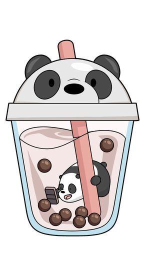 We Bare Bears Panda in Boba Drink Sticker - Sticker Mania