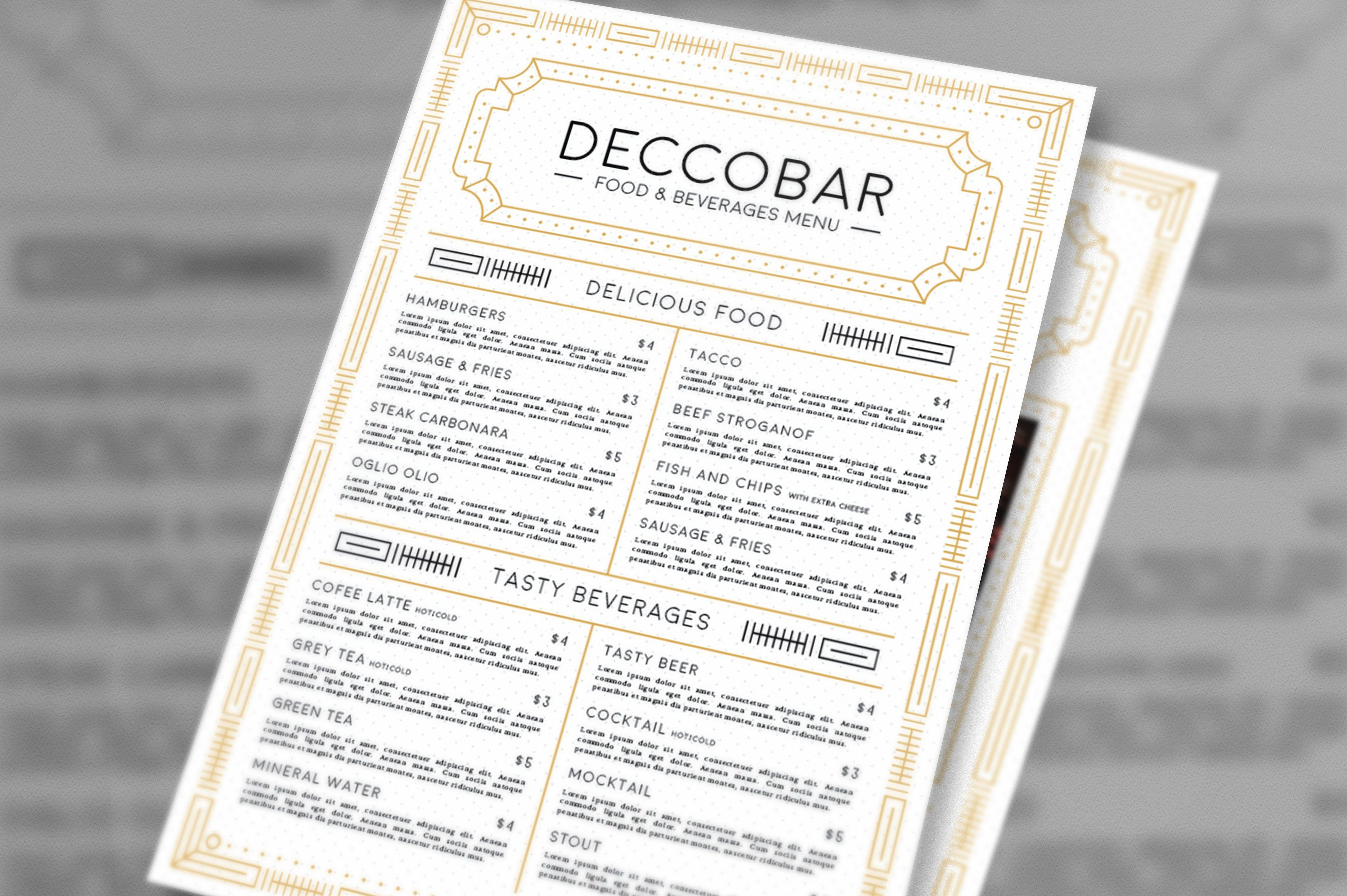 Art Deco Food & Beverages Menu Restaurant promotions
