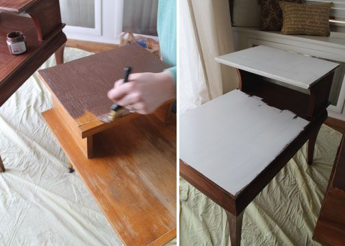 Hammers And High Heels A Tale Of Two Two Tier End Tables End Table Makeover End Tables Furniture Makeover