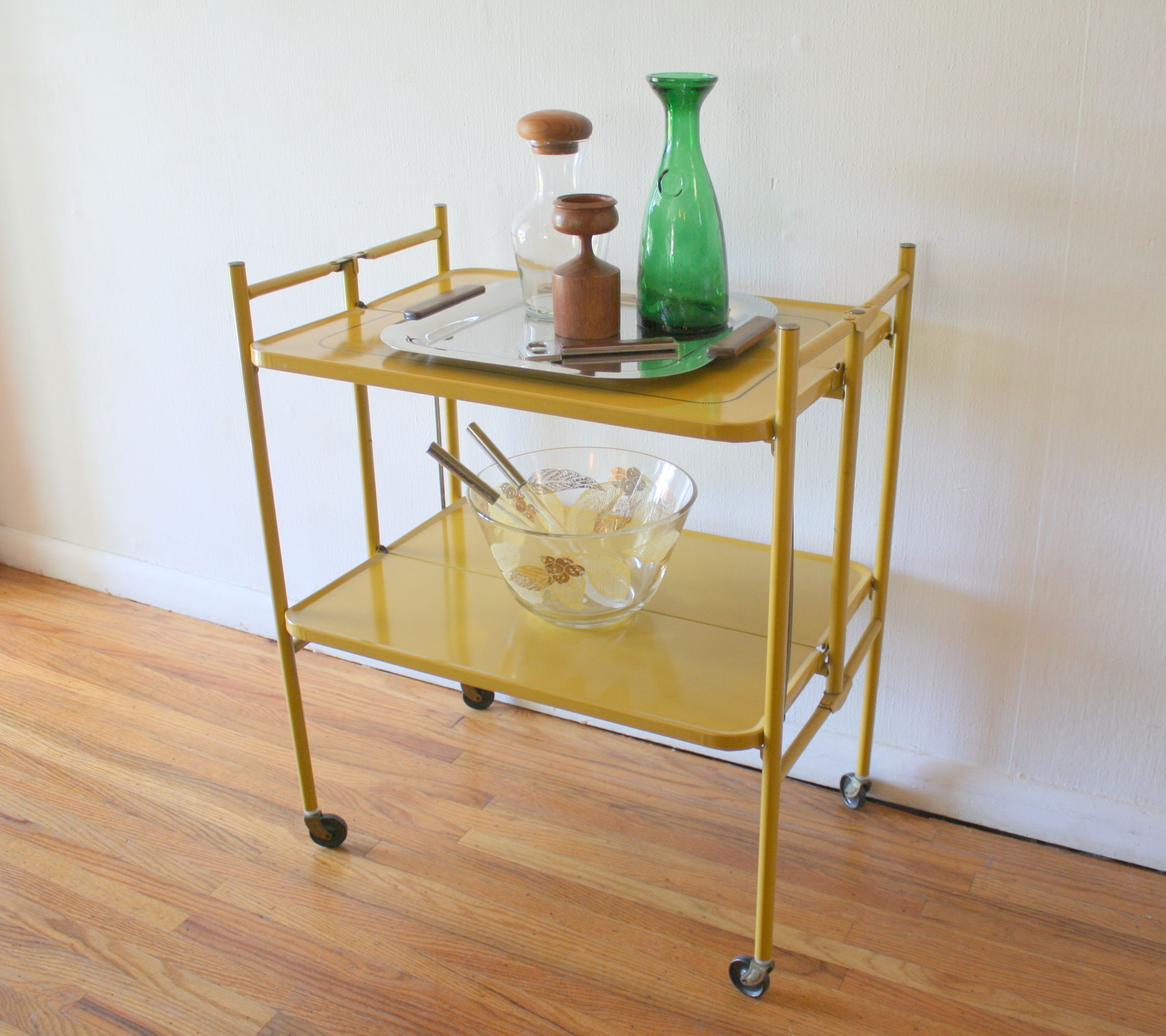 Mid Century Modern Folding Bar Serving Cart In A Cheerful Sunflower Yellow