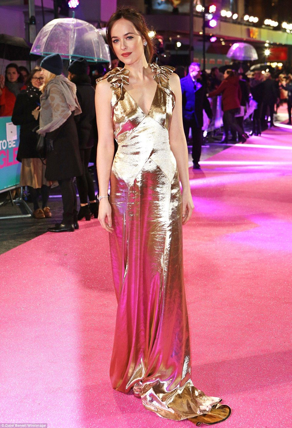 Dakota johnson shimmers in gold lam gown at how to be single premiere how to shimmer dakota johnson was the shining star as she led the glamour at ccuart Choice Image