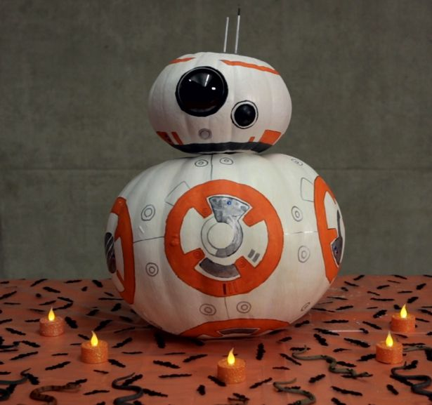 paint your own diy bb 8 pumpkin star wars pinterest herbst basteln und deko. Black Bedroom Furniture Sets. Home Design Ideas