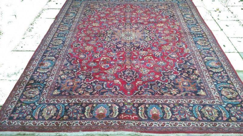Perzisch Tapijt Blauw : Vintage perzisch mashad tapijt blauw rood 250 x 340 cm pinterest