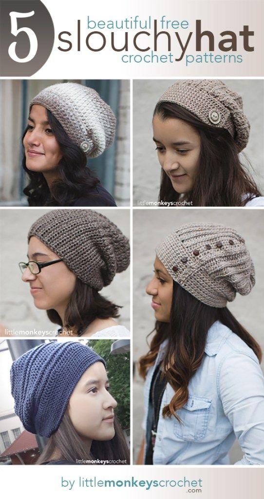 5 Beautiful + Free Slouch Hat Patterns | crochet | Pinterest | Mütze ...