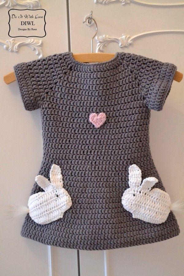 Mädchen Kleid Selber Häkeln Hasen Motiv Handarbeiten
