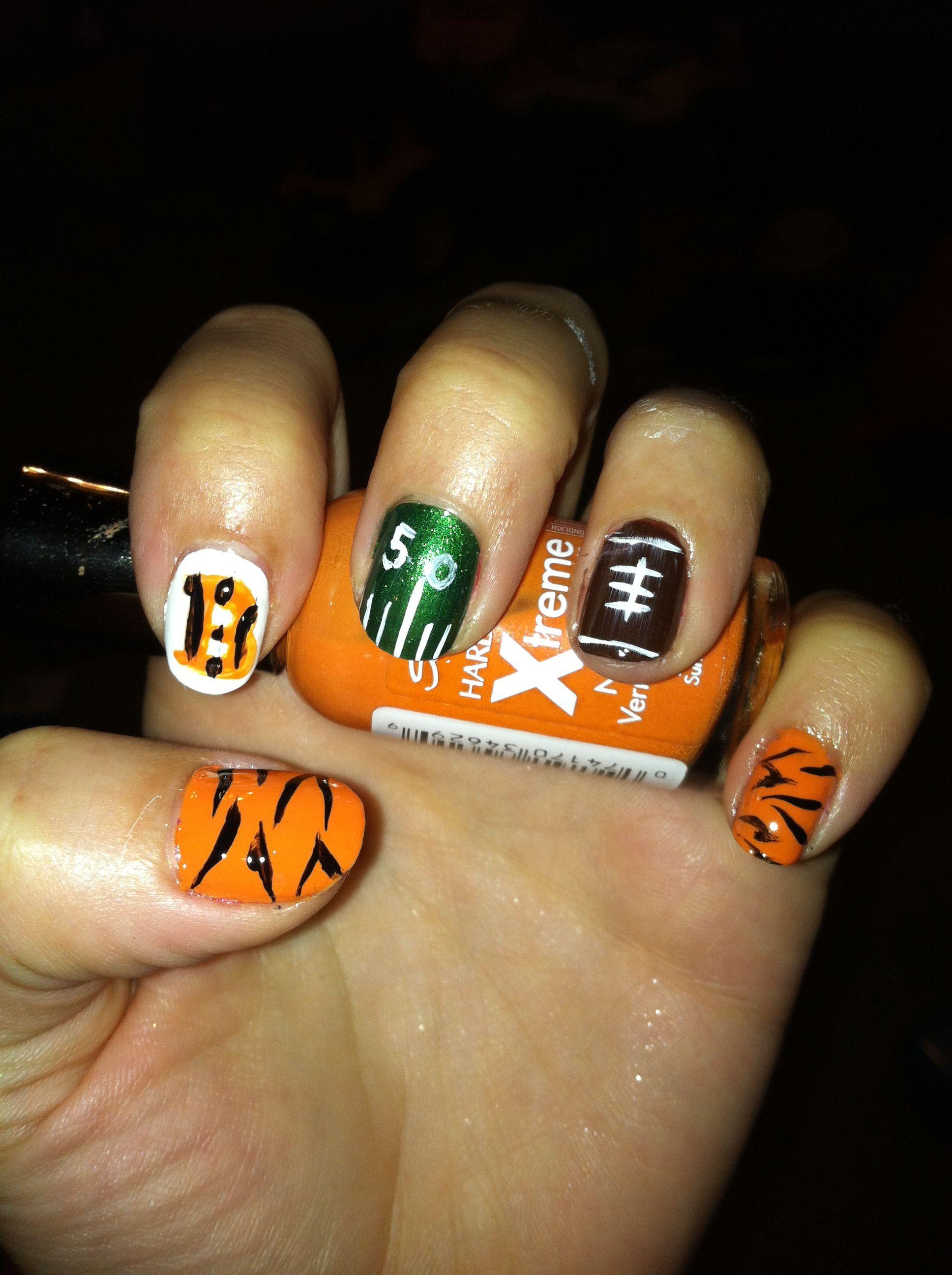 Cincinnati Bengals Football Nails Cincinnati Bengals Football Football Nails Bengals Football