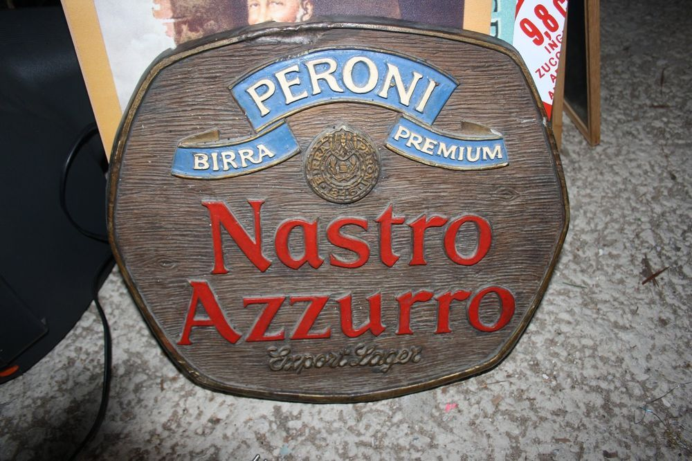 Birra Peroni Nastro Azzurro quadro pubblicità targa
