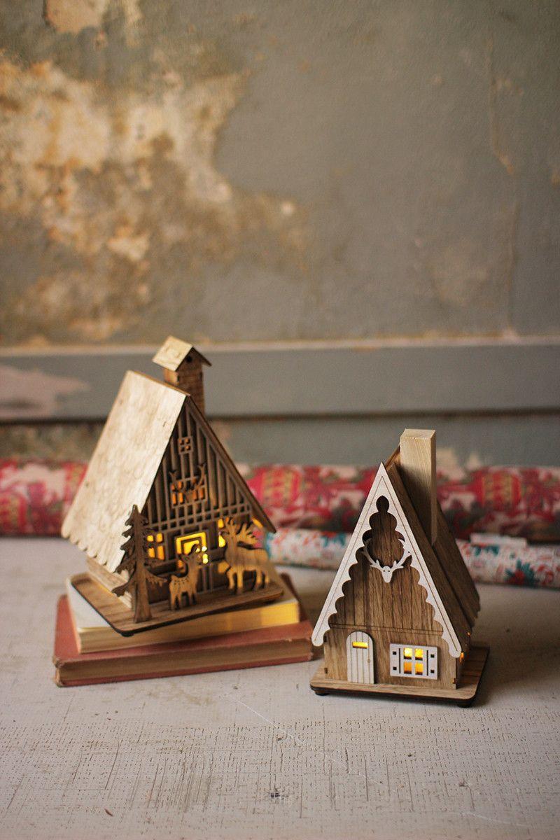 Set Of 2 Wooden Houses With Led Lights Christmas Light Installation Christmas Lights Holiday Decor Christmas