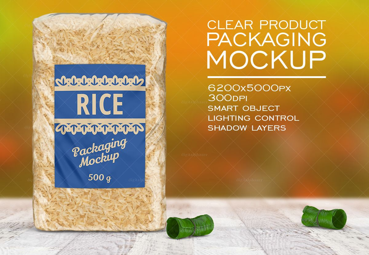Download Clear Rice Cereals Bag Mockup Food Packaging Packaging Mockup Packaging