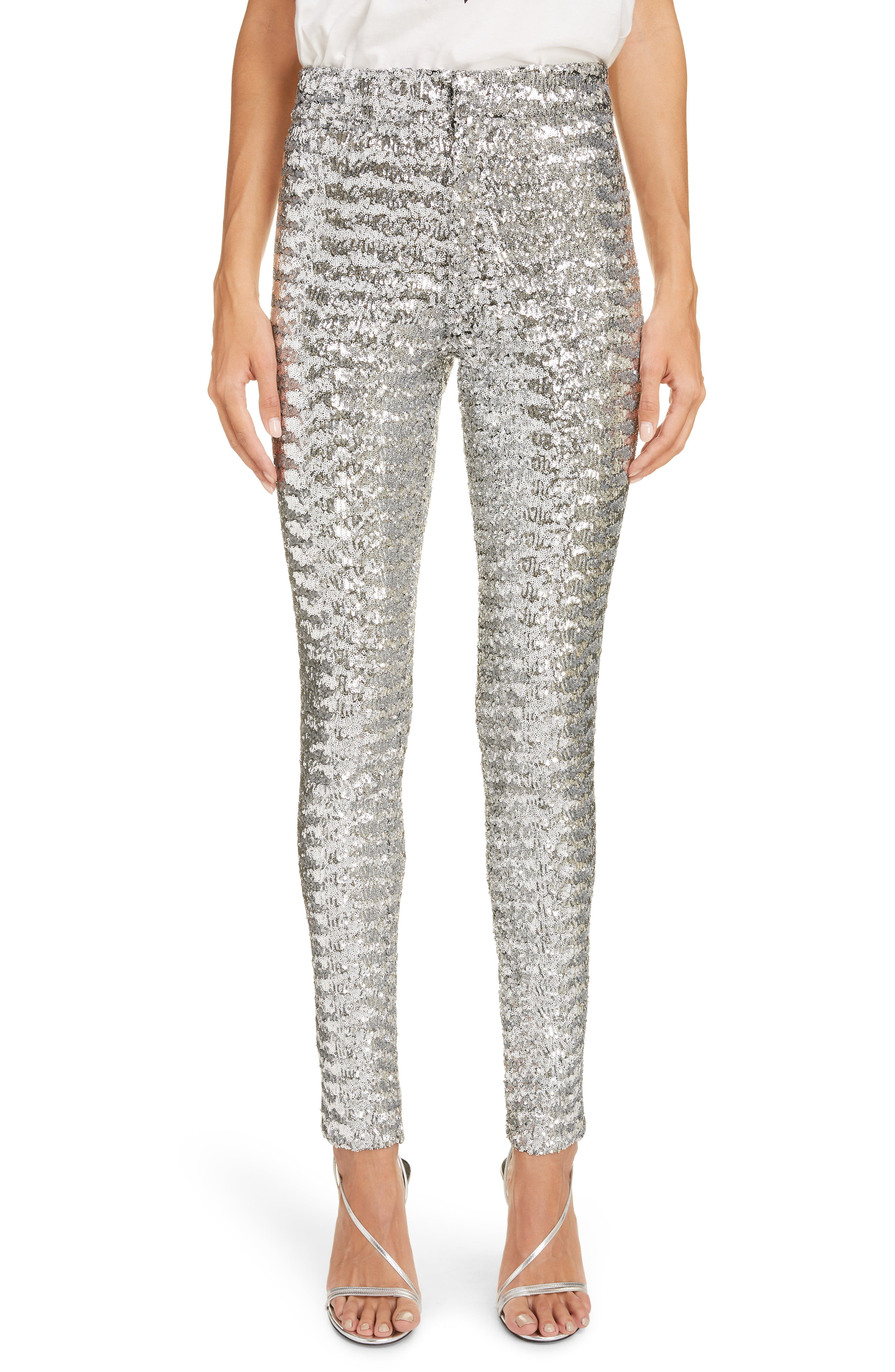 452ef9a29d Women's Isabel Marant Sequin Skinny Pants, Size 8 US / 40 FR - Metallic