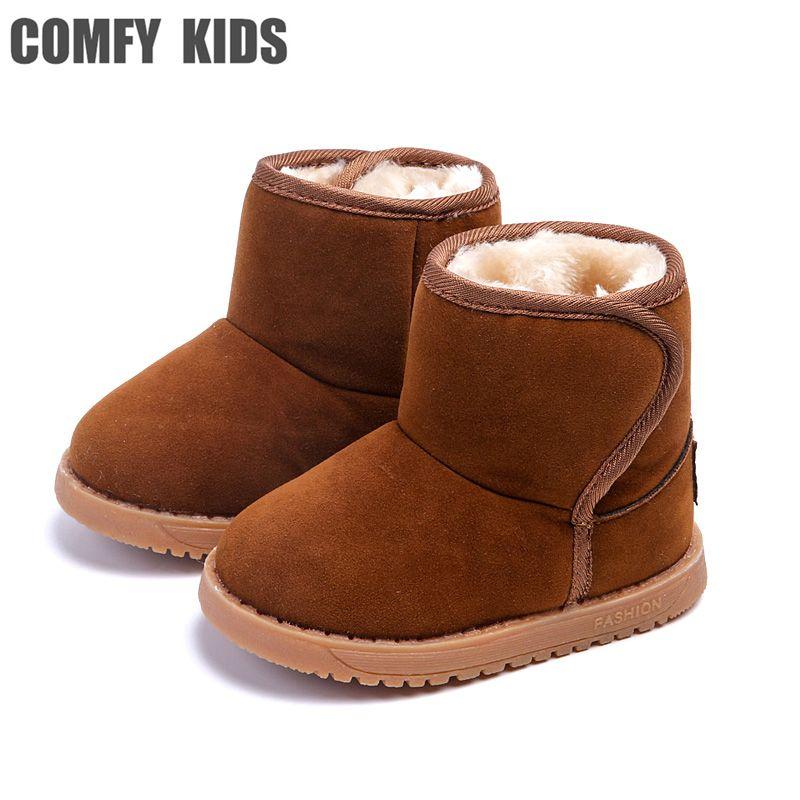 51e629259f68 Winter Warm Boys Girls Snow Boots Shoes Fashion Flat With Plush ...