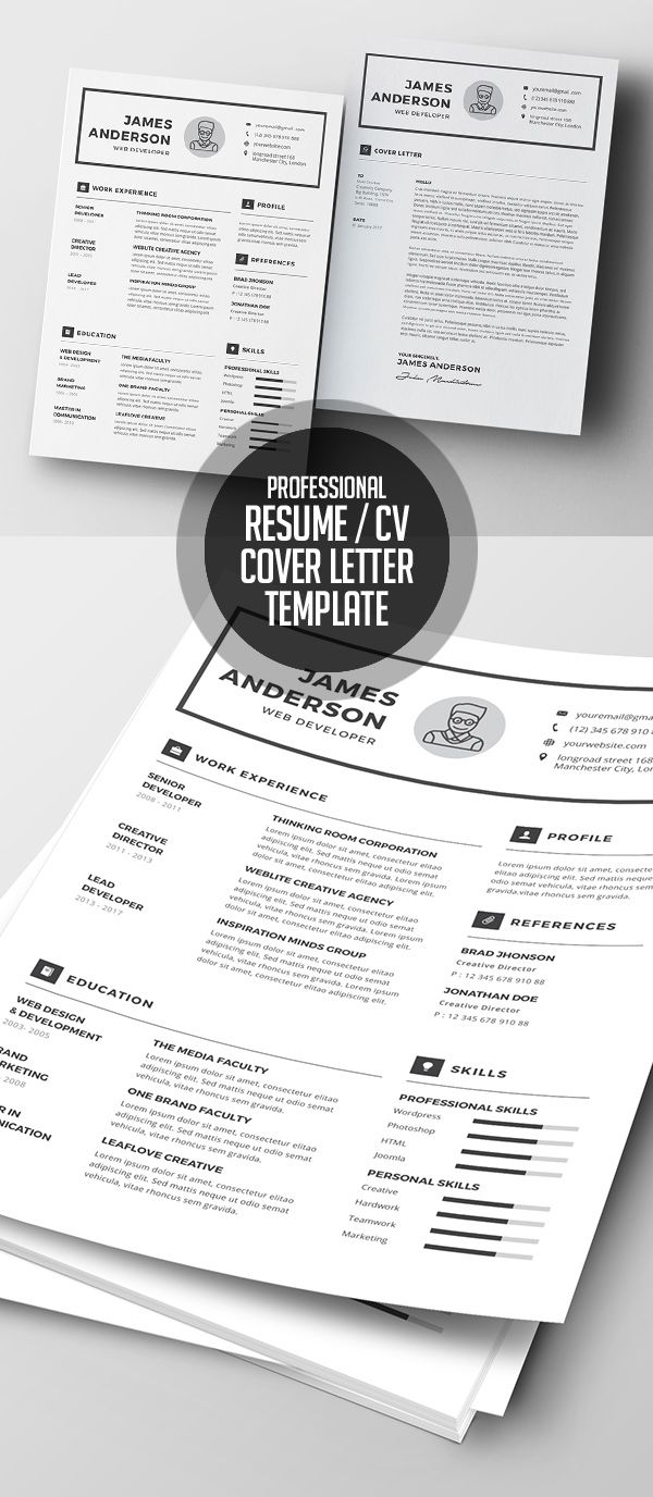 Professional Resume  Cover Letter Template Minimalresume