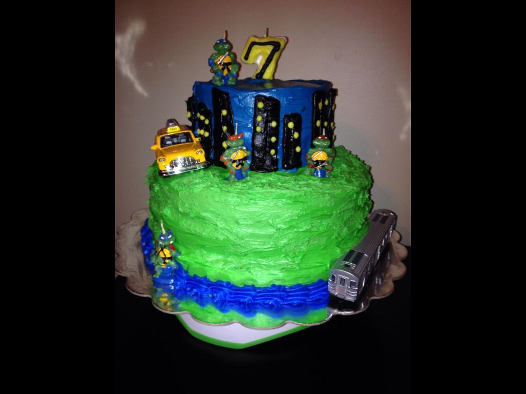 Teenage Mutant Ninja Turtles Birthday Cake Nyc Theme Use Turtle Candles Or Figures And Make Skyline With Frosting Green For Sewers Add Subway Train