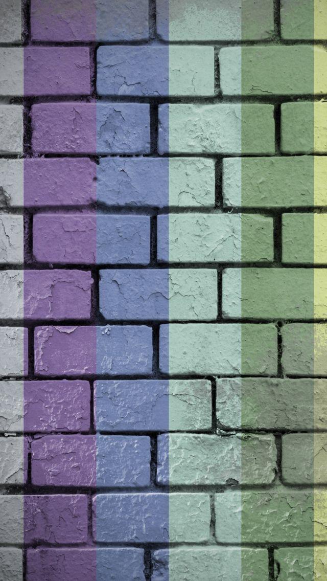 640x1136 Wallpaper wall, bricks, rainbow