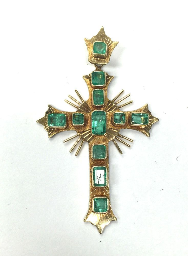 Antique Victorian 1800s 18k Yellow Gold African Emerald