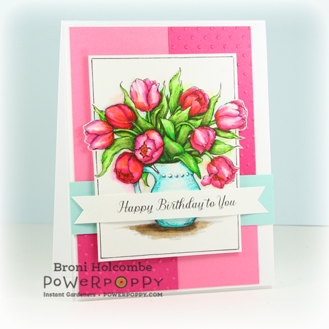 Tulips in Hobnail Pitcher Digital Stamp Set | Power Poppy by Marcella Hawley, card design by Broni Holcombe.