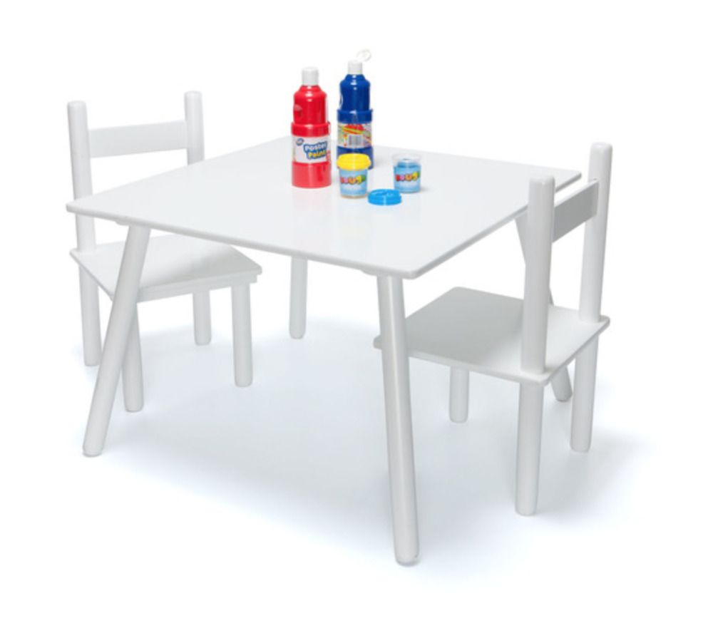 White Wooden Drawin Art Craft Table And 2 Chairs Set For