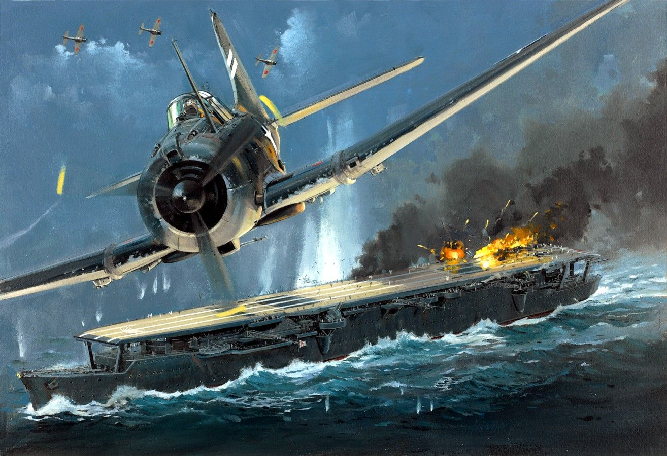 Japanese Carrier Zuiho under attack by Dauntless dive bombers during the Battle of Santa Cruz