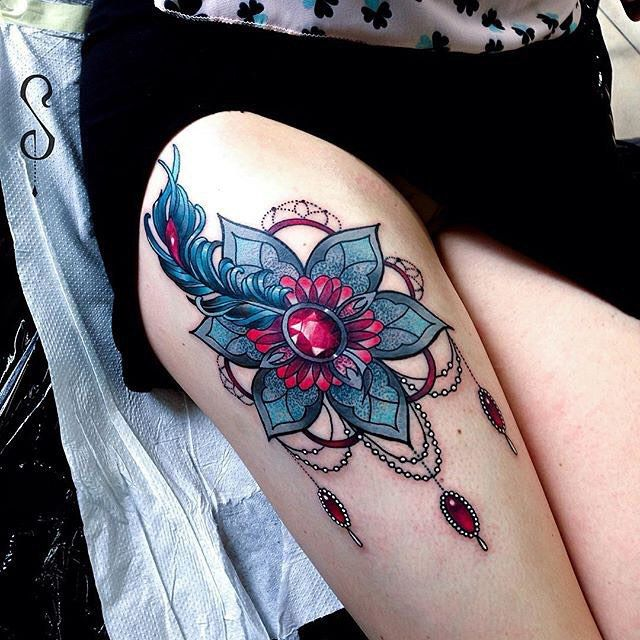 Baroque Flower on Thigh