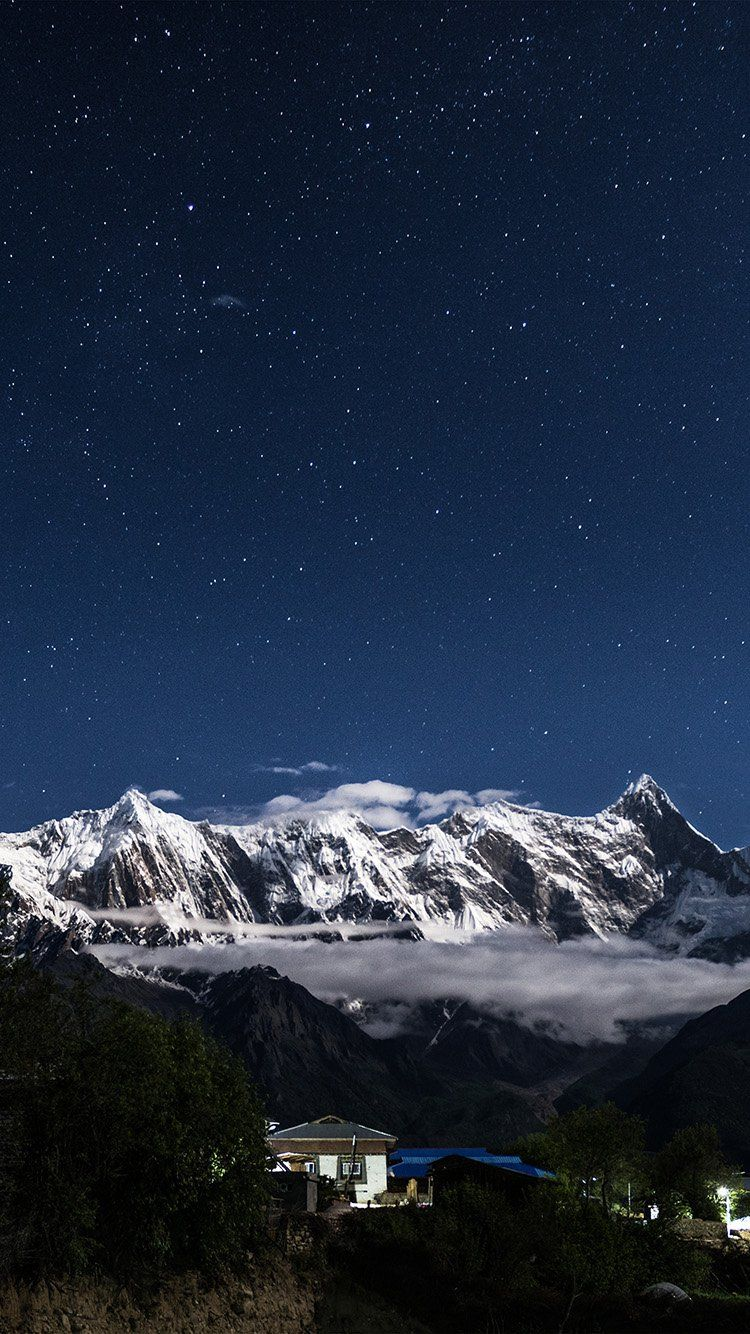 Night Mountain Blue Sky Space Star Wallpaper Hd Iphone