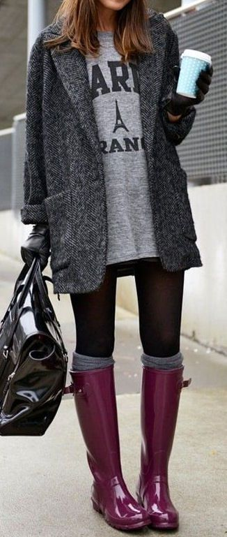 Cute rainy day outfit // I LOVE the black tights, grey knee high socks and  color of boots D