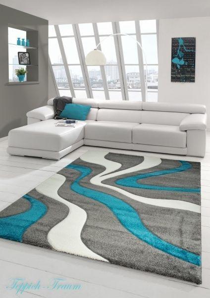 Alfombra moderna moqueta 3d contornos cortados gris for Habitacion blanca y turquesa