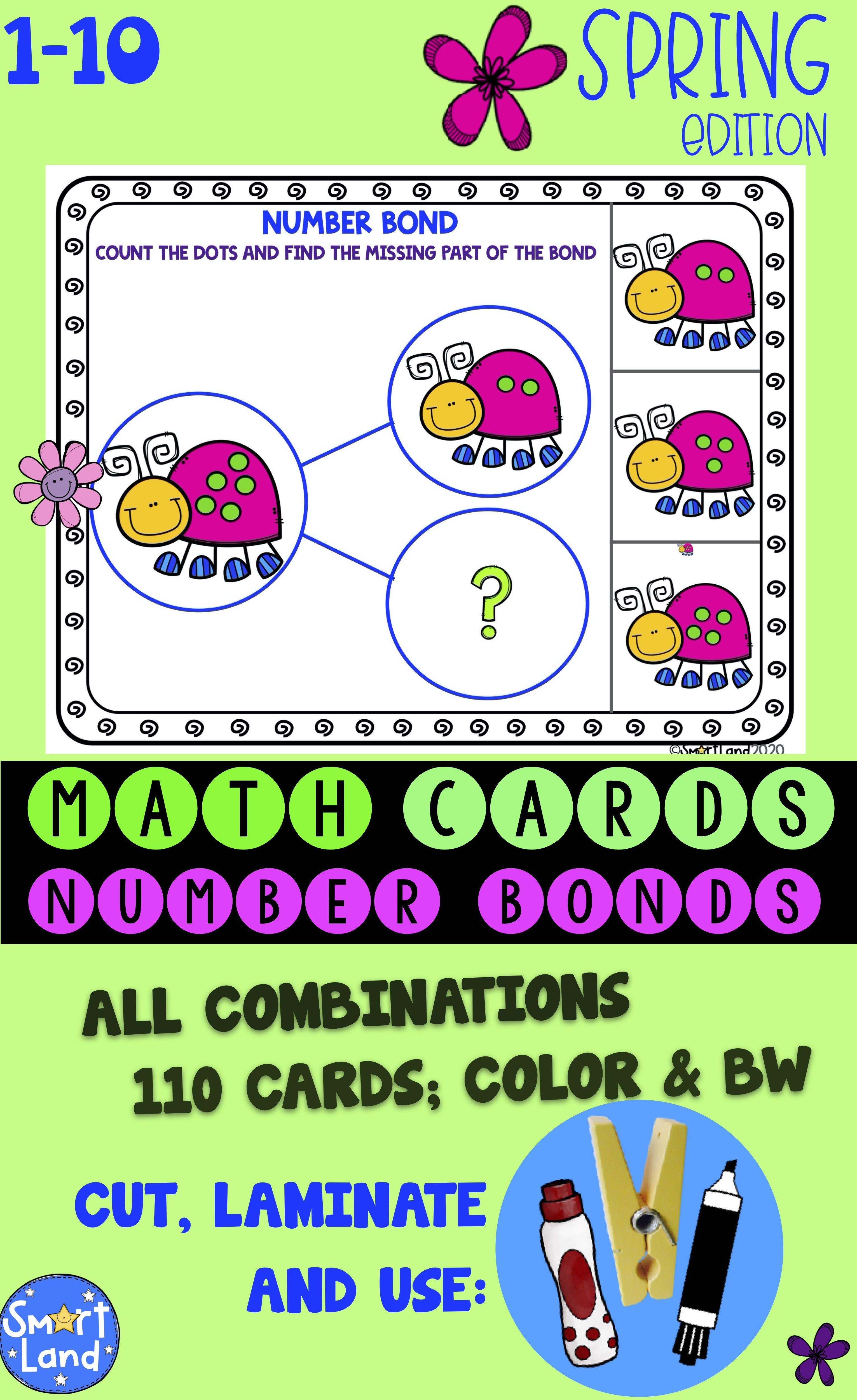 Math Number Cards Number Bonds Spring In
