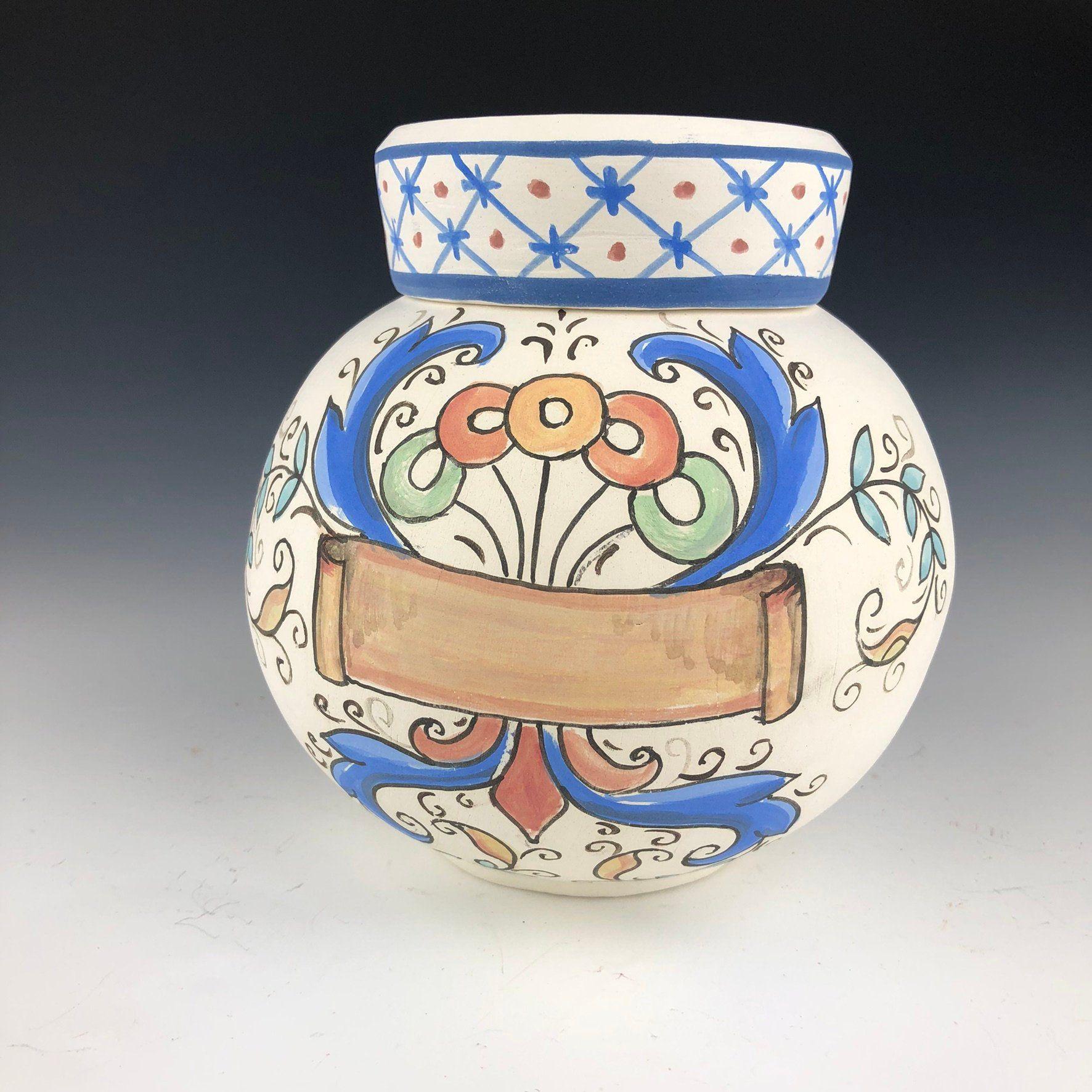 Personalized pet cat dog Deruta Italian style urn or