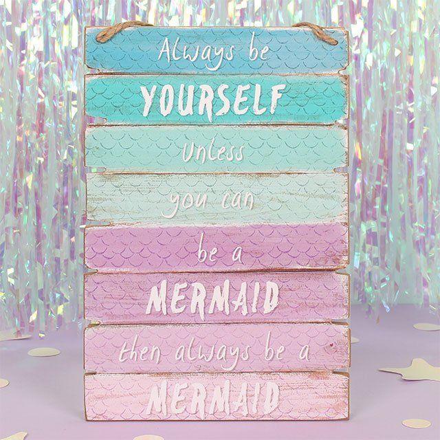 Mermaid Ombre Wooden Wall Hanging Sign Bedroom Decoration Plaque