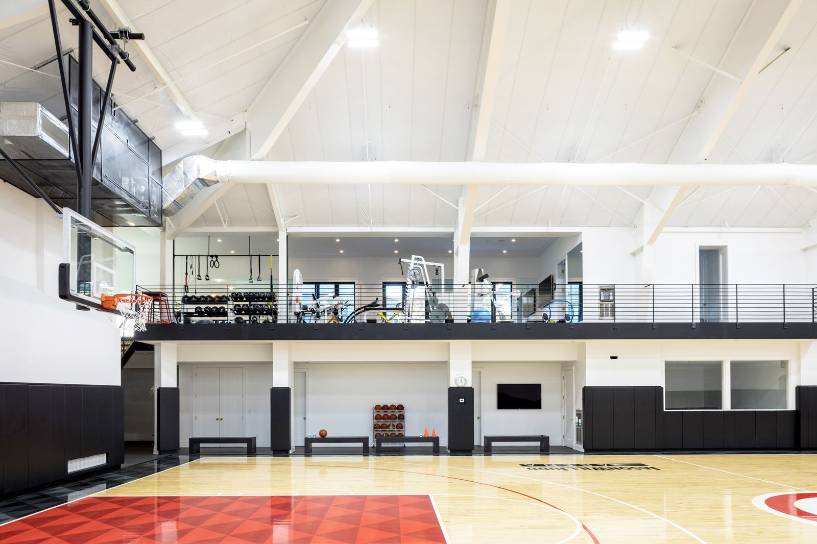 There S A Full Size Basketball Court And A Movie Theater Inside This House Home Basketball Court House Outdoor Basketball Court