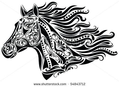 Horse head stock photos images pictures shutterstock - Mandala cheval a imprimer ...