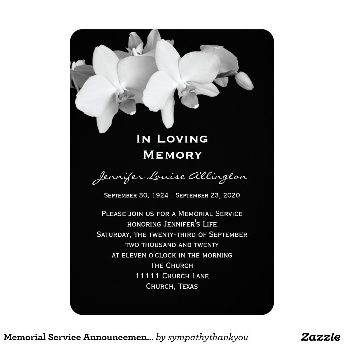 Memorial Service Announcement - Orchids