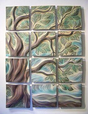 Sculptural Wall Tiles Tree Of Life Design Residential Installation Spaces Boston Natalie Blake Ceramic Tile Art Ceramic Wall Art Ceramic Wall Art Tiles