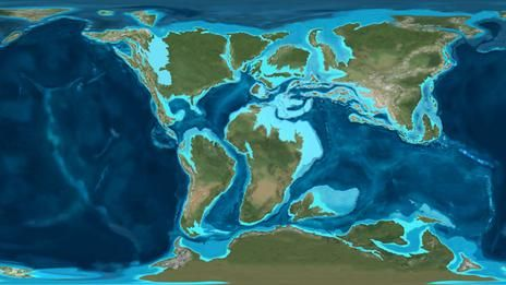 A map of the Earth in the Cretaceous Period   Maps   Map
