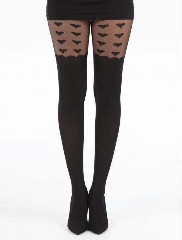 Black Sheer Heart Fashion Tights by Pamela Mann