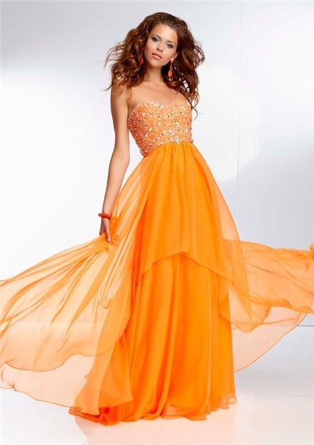 Sexy sheath asymmetric long orange sequined prom dress with ...