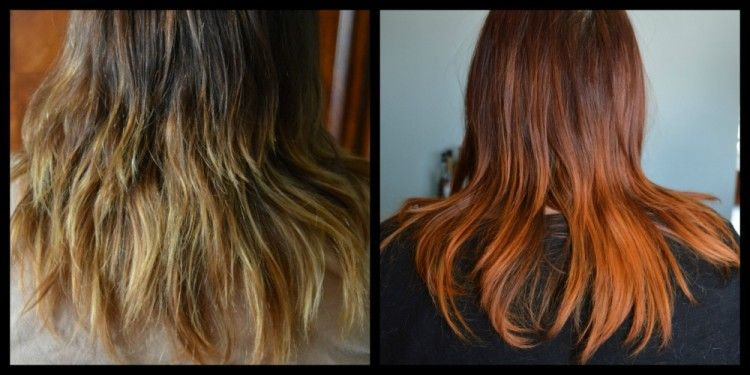 Before And After Dyeing With Henna Over Chemically Processed Hair