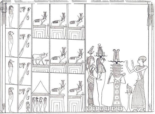 Fig. 3. Escena del Capítulo 148 del Libro de los Muertos. Imagen en P. BARGUET, Le Livre des Morts des Anciens Egyptiens, París, 1967, p. 206 7 vacas