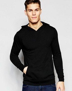 Sudadera con capucha de punto ligero con diseño ajustado en negro de ASOS