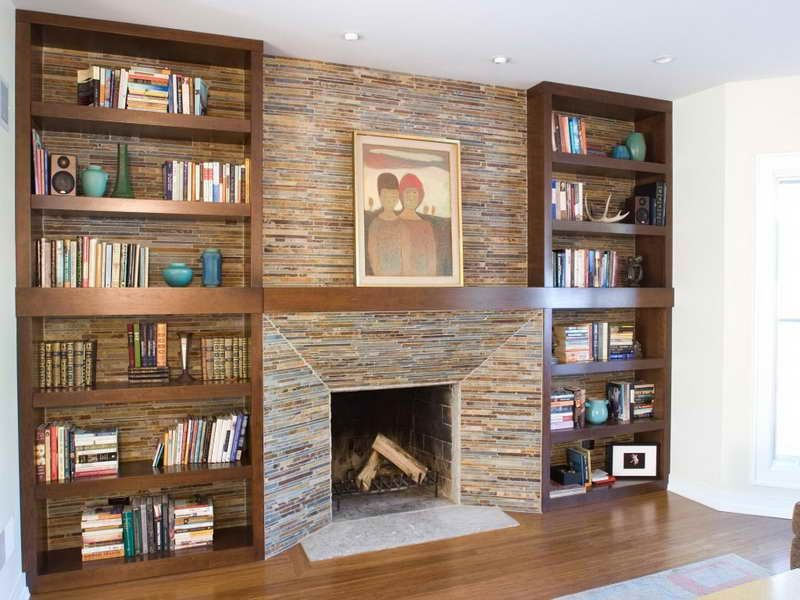 Cabinet & Shelving:How To Build In Bookshelves With Fireplace In