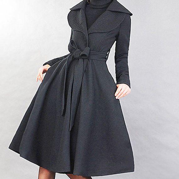 Elegant black woolen long coat 20sale by xiaolizi on Etsy ...