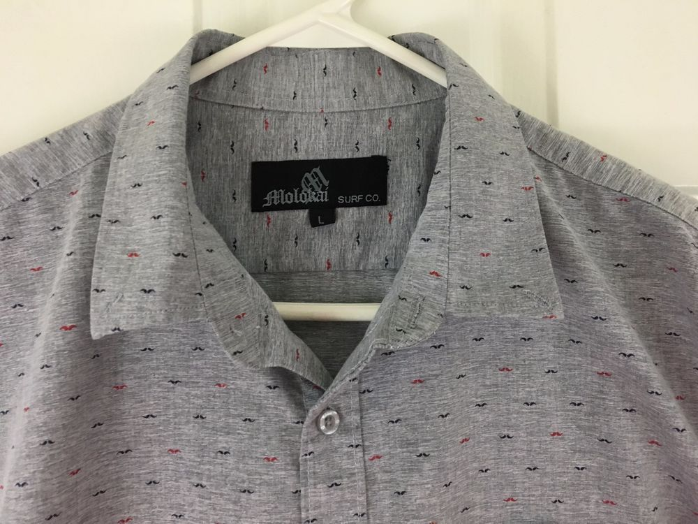 618b39fe Molokai Surf Co Mens Shirt Red and Blue Mustache Button Short Sleeve Gray  Size L #MolokaiSurfCo #ButtonFront