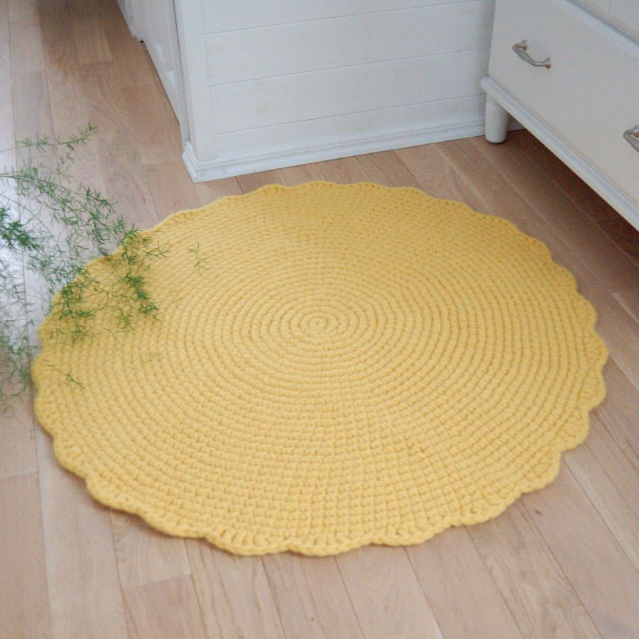 Yellow Rug Round Crochet Wool Rug Nursery Sun Rug Knit
